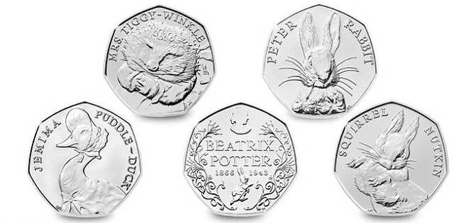 Beatrix Potter 50p Coins – Jemima Puddle-Duck, Mrs. Tiggy-Winkle and Squirrel Nutkin