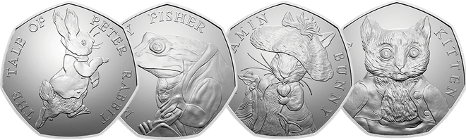 Beatrix Potter 50p Coins – Tom Kitten, Benjamin Bunny and Jeremy Fisher